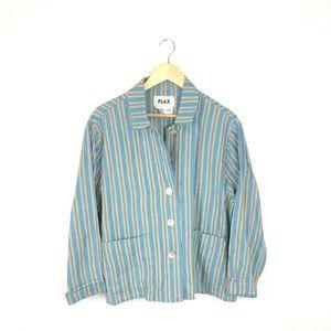 NWOT FLAX blue green 100% linen blazer small